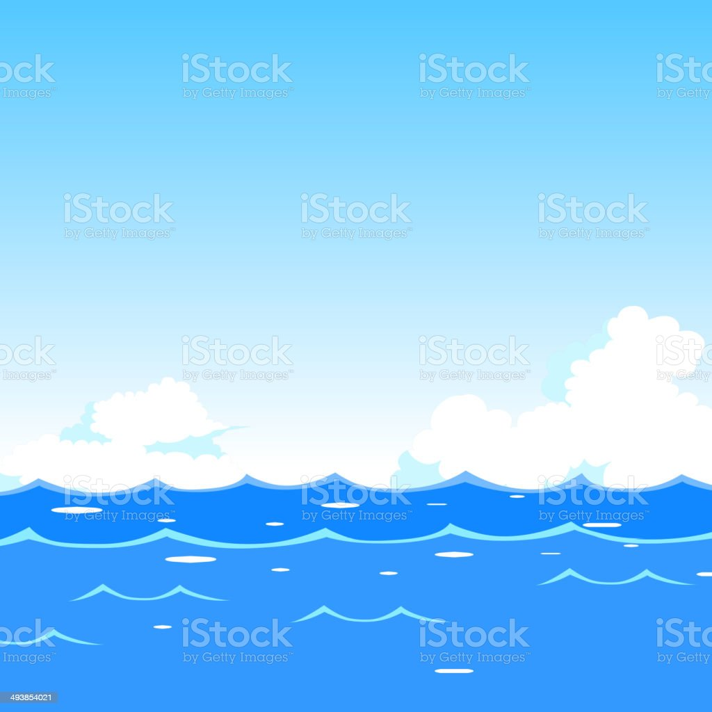 Sea waves background vector art illustration
