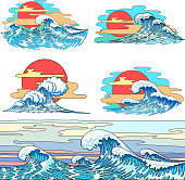 Sea waves. Design set. Hand drawn . Vector vintage illustration in Japanese style