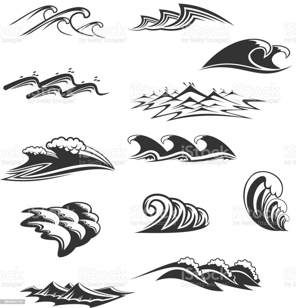 Sea waves icons vector set - Royalty-free Abstract stock vector