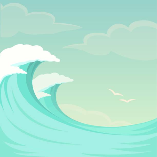 Meereswellen, Ocean Wave Hintergrund, Wasser und Sommer Himmel – Vektorgrafik