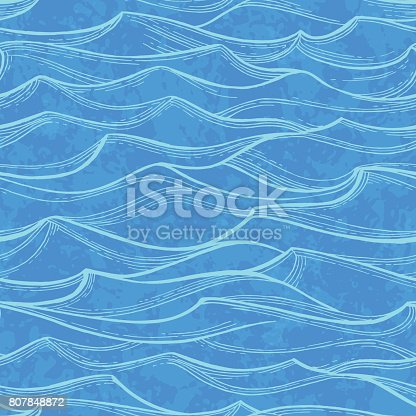 Sea waves. Summer watercolor background. Hand drawn vector illustration.