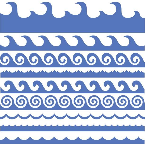 ilustrações de stock, clip art, desenhos animados e ícones de sea waves set - algarve
