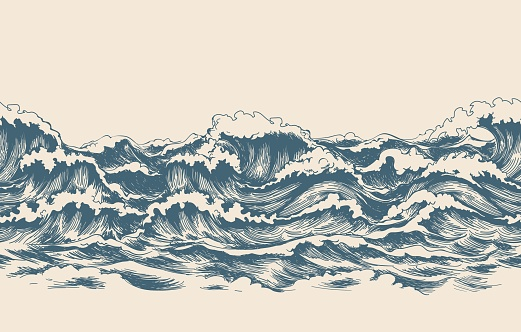 Sea waves sketch pattern clipart