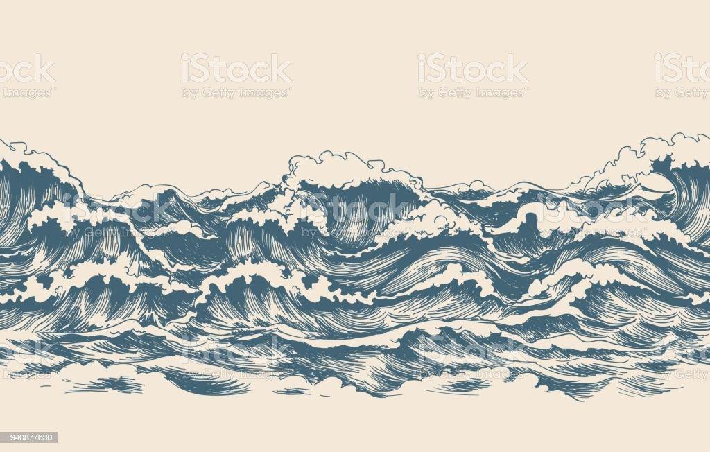 Meereswellen skizzieren Muster – Vektorgrafik
