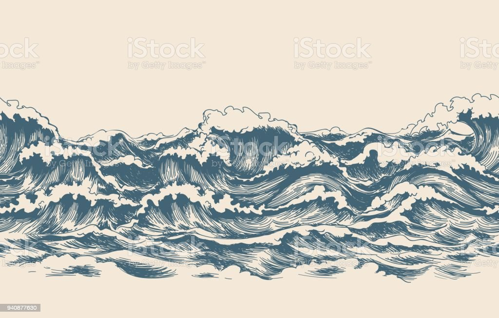 Sea waves sketch pattern vector art illustration