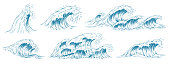 Sea waves sketch. Storm wave, vintage tide and ocean beach storms hand drawn. Surfing Japan style waves, river tide or marine wavy stream. Isolated vector illustration icons set