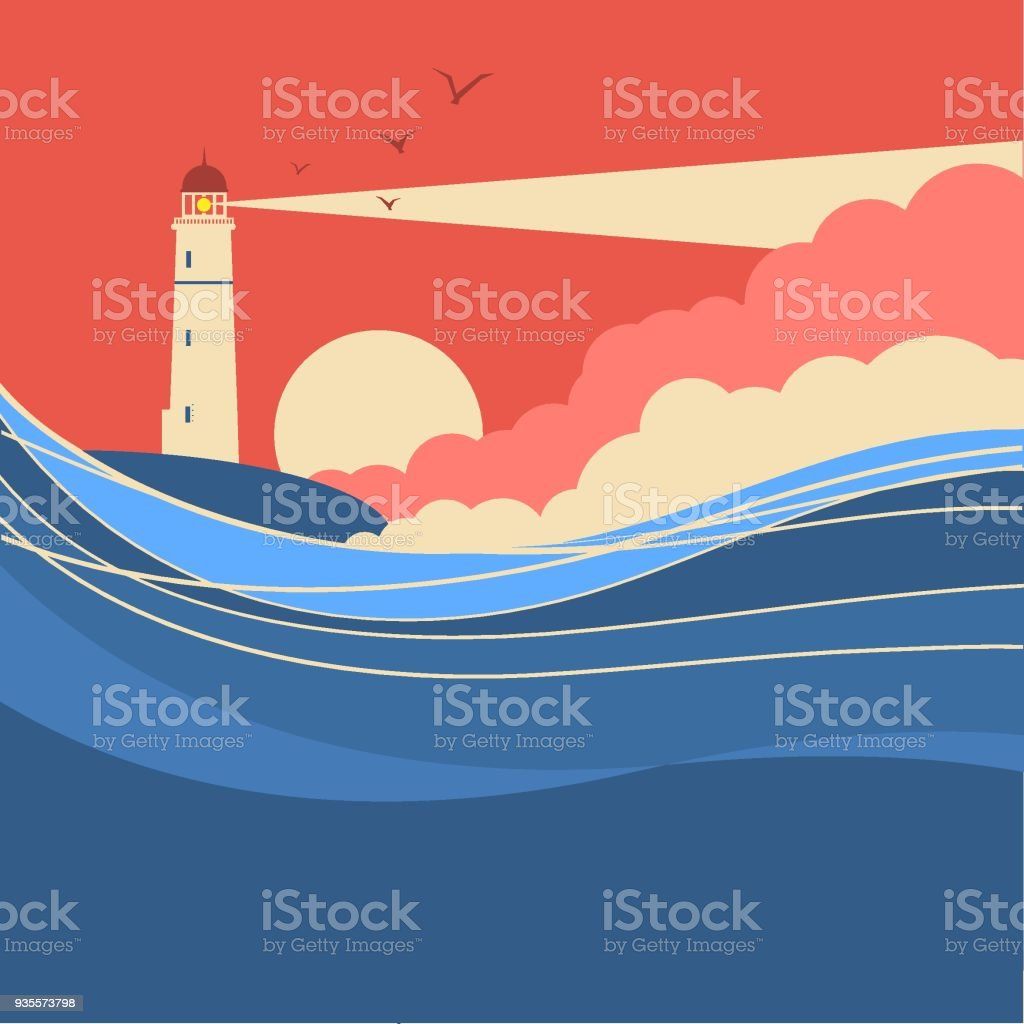 Sea waves with lighthouse.Vector nature poster of seascape vector art illustration