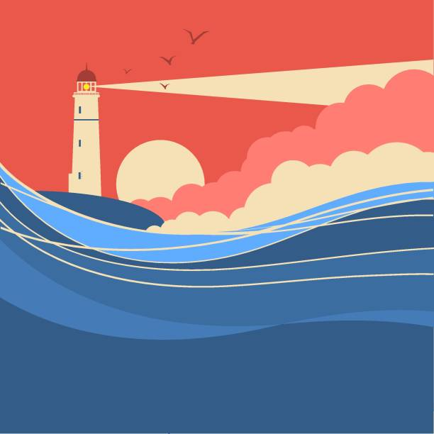 Sea waves with lighthouse.Vector nature poster of seascape Sea waves with lighthouse.Vector nature poster of seascape for text lighthouse stock illustrations