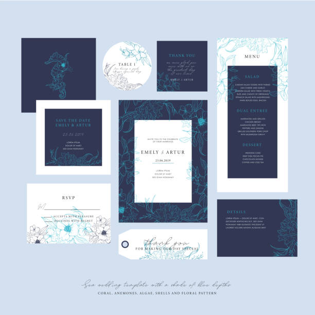 Sea wedding template with a shade of blue depths. Big wedding collection with sketch floral branches, coral, algae in the trend colors of the underwater world. Nautical art. Sea wedding template with a shade of blue depths. Big wedding collection with sketch floral branches, coral, algae in the trend colors of the underwater world. Nautical art. wedding invitation stock illustrations