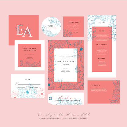 Sea Wedding Template With A Warm Coral Shade Big Wedding Collection With Sketch Floral Branches Coral Algae In The Trend Colors Of Living Coral Nautical Art Stock Illustration - Download Image Now