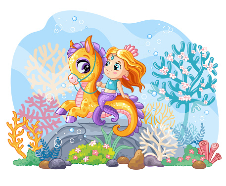 Sea wildlife background with cute mermaid on seahorse vector