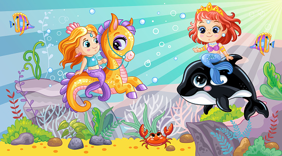 Sea wildlife background with cute mermaids and orca vector
