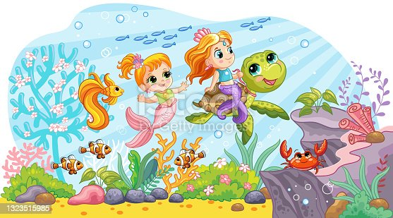 Sea wildlife background with cute mermaids and turtle vector