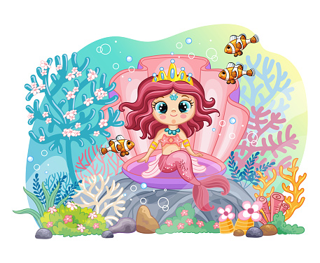 Sea wildlife background with mermaid and corals vector