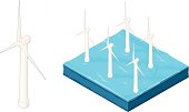 A vector illustration of an isometric wind farm with turbines at sea.