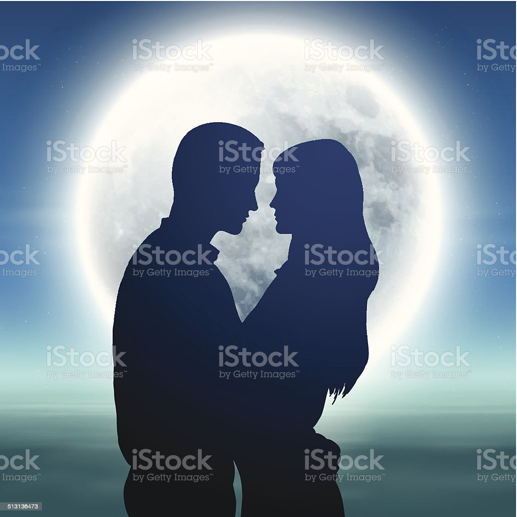 Sea with full moon and silhouette couple at night vector art illustration