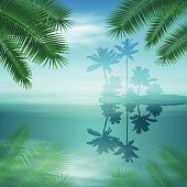 Sea with island and palm trees. EPS10 vector.