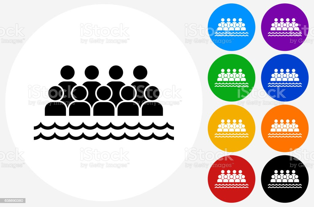 Sea World Audience Icon on Flat Color Circle Buttons vector art illustration