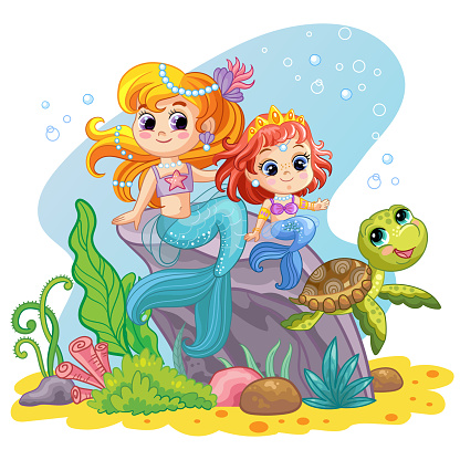 Sea world background with mermaids and turtle vector