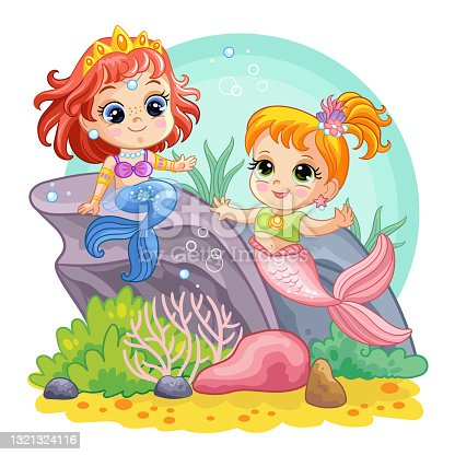 Sea world background with mermaids on coral reef
