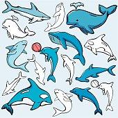 Sea World VIII: Sharks, Dolphins, Whales ( Vector)