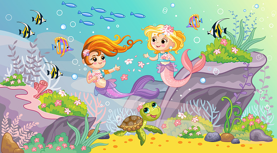 Sea world wildlife background with two mermaids vector