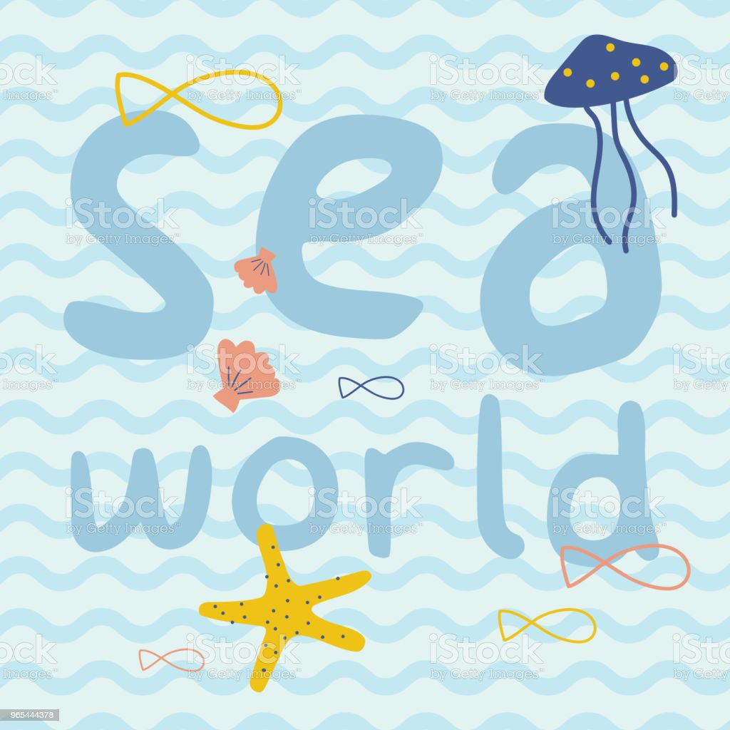 Sea world with fish, starfish, jellyfish, shell print poster royalty-free sea world with fish starfish jellyfish shell print poster stock vector art & more images of adventure