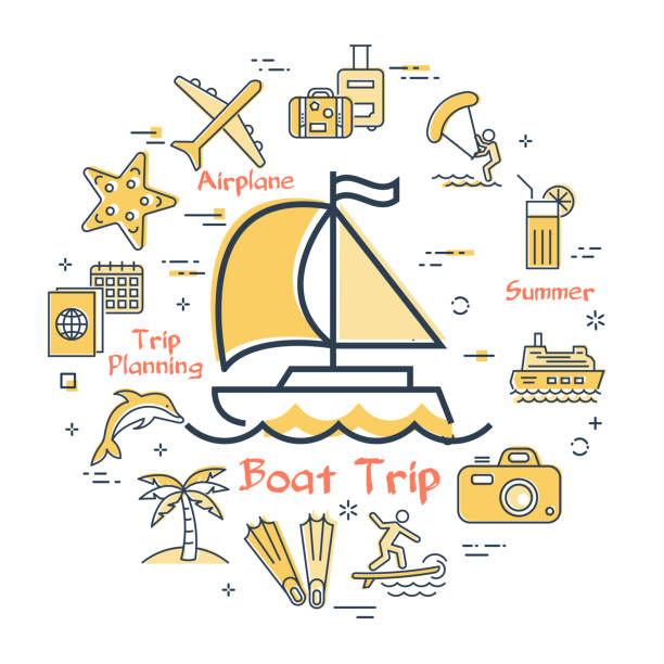 Sea yacht and summer vacation icons, trip planning vector art illustration