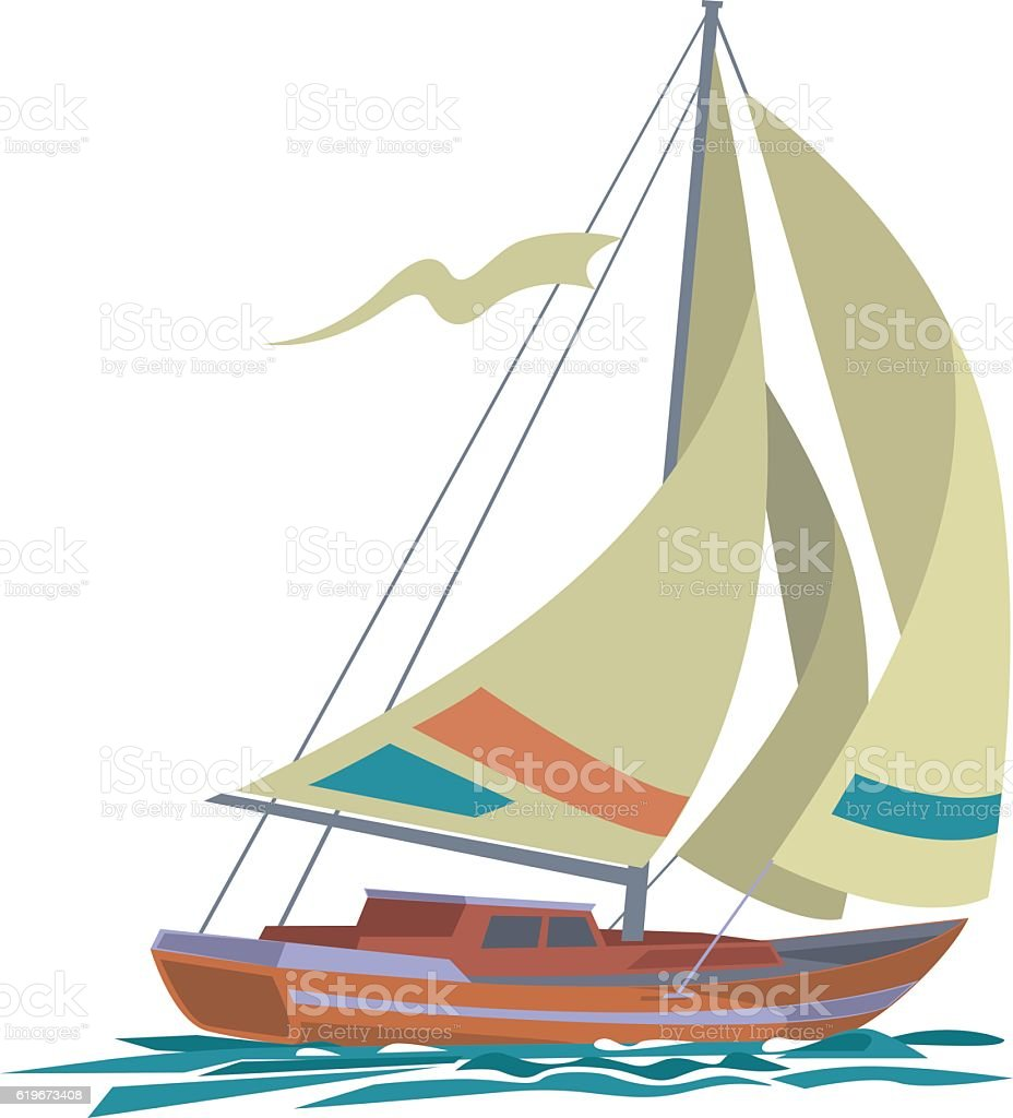 Sea yacht with olive sails and water vector art illustration