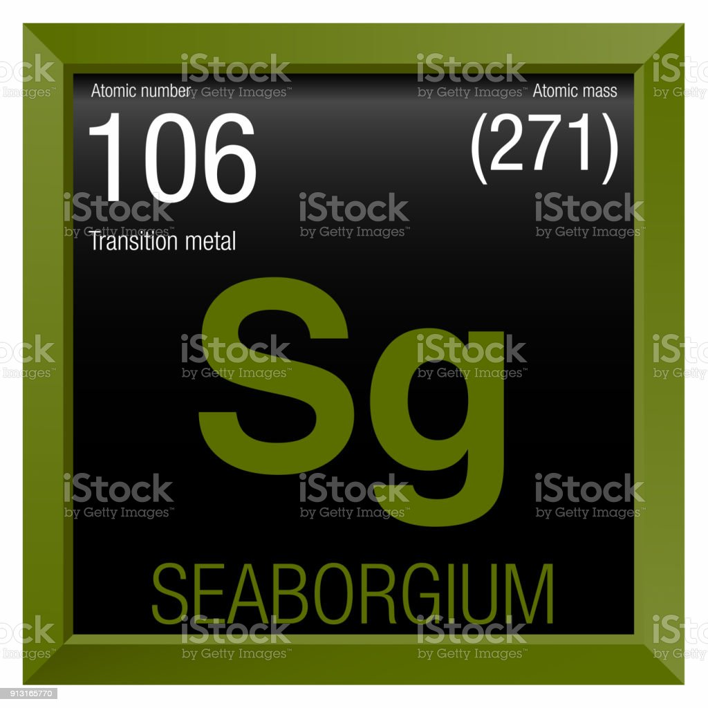 Seaborgium Symbol Element Number 106 Of The Periodic Table Of The