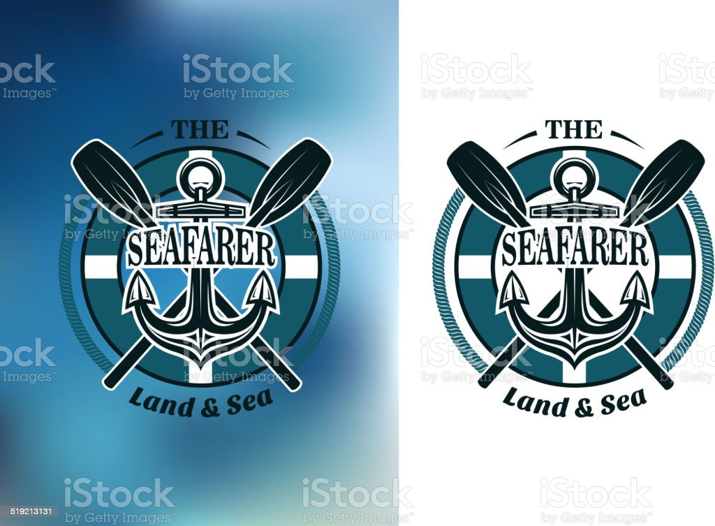 Seafarer badges with crossed oars vector art illustration