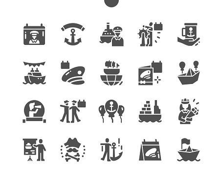 Seafarer Day 25 June. Anchor. Calendar. Twenty fifth of june. Holiday. International trade. Congratulation. Seafarers. Vector Solid Icons. Simple Pictogram