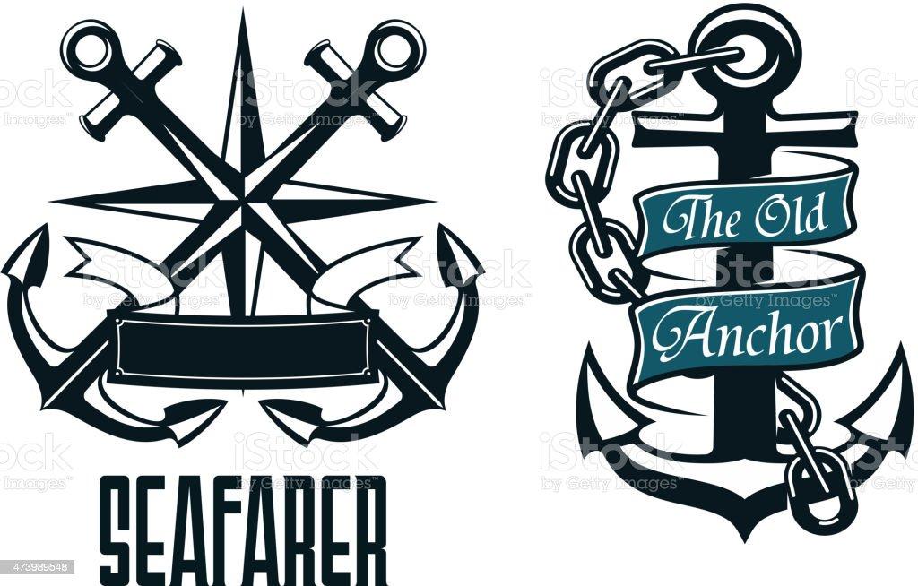 Seafarer marine heraldic emblem and symbol vector art illustration