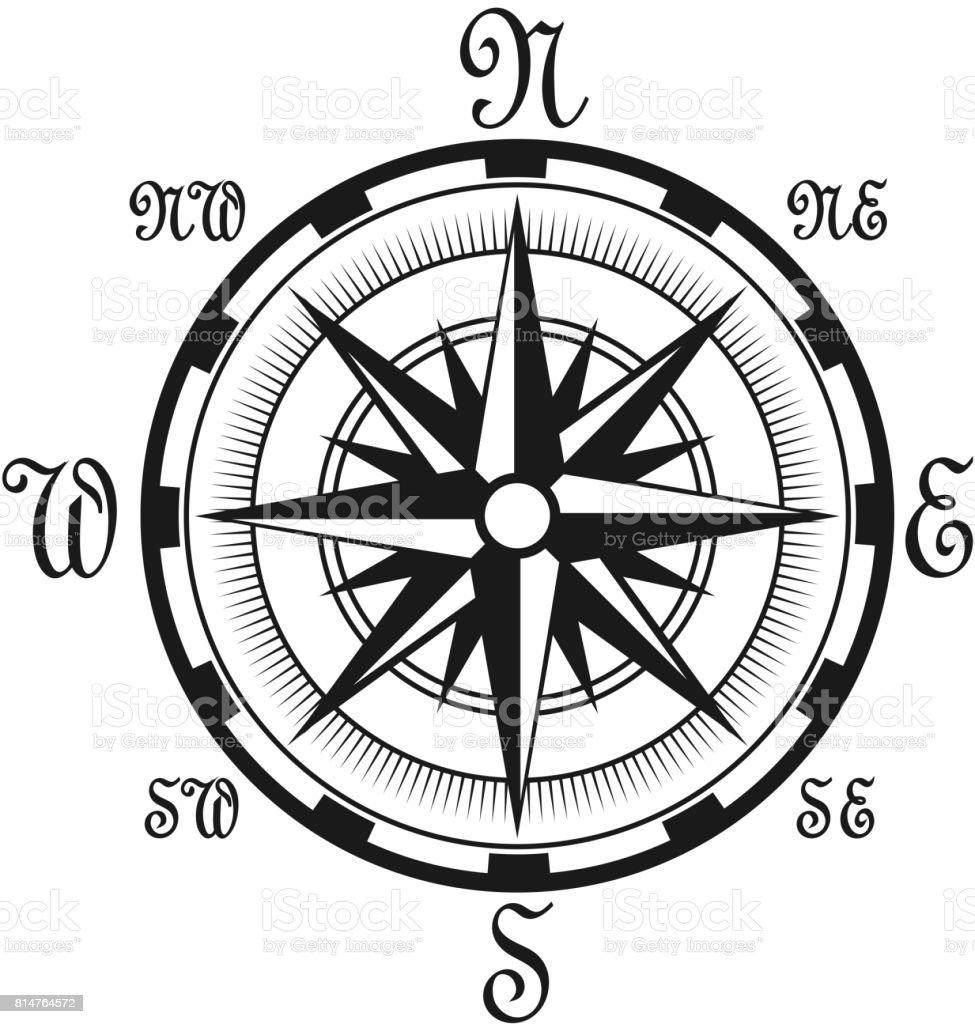 Seafarer navigation compass vector nautical icon vector art illustration