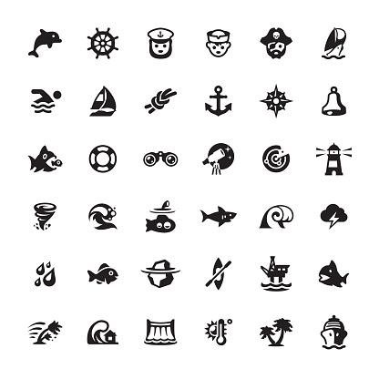 Seafaring icons set