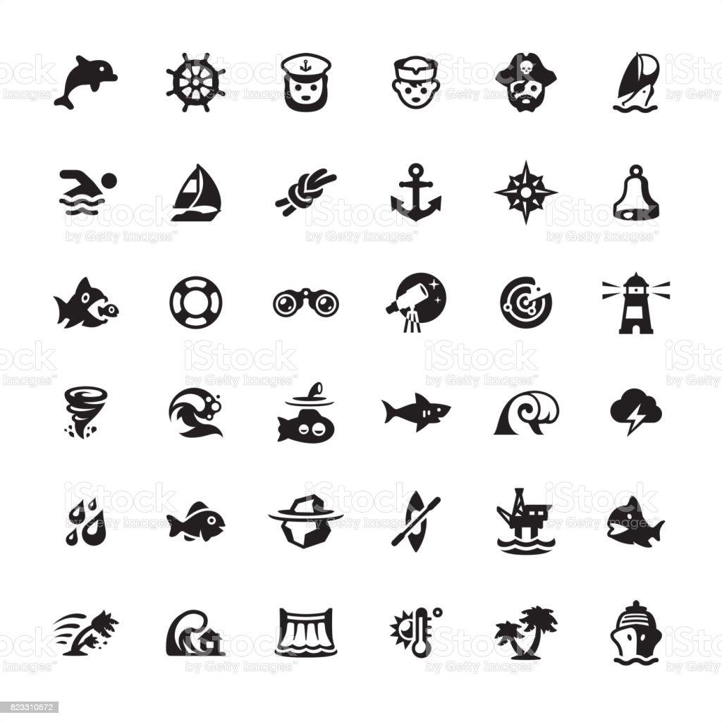 Seafaring icons set vector art illustration