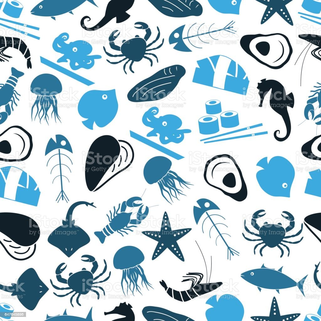 seafood and fish food theme icons blue seamless pattern eps10 vector art illustration