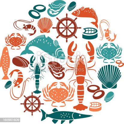 A set of seafood and fish themed icons. See below for a repeat pattern of this file.