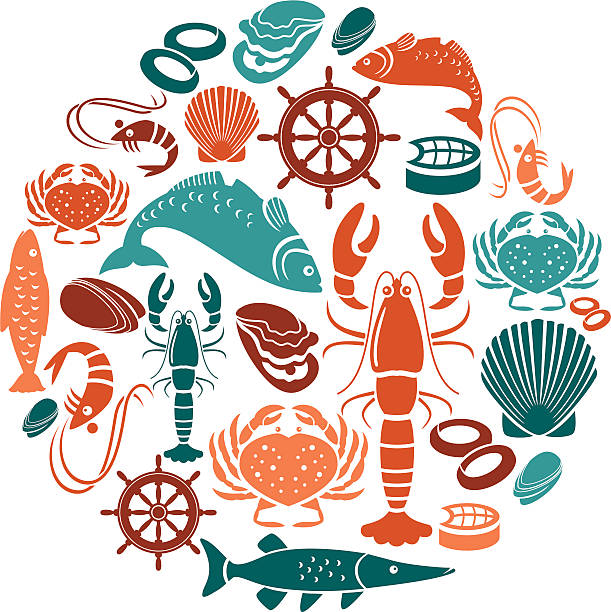 Seafood and Fish Icon Set A set of seafood and fish themed icons. See below for a repeat pattern of this file. seafood stock illustrations