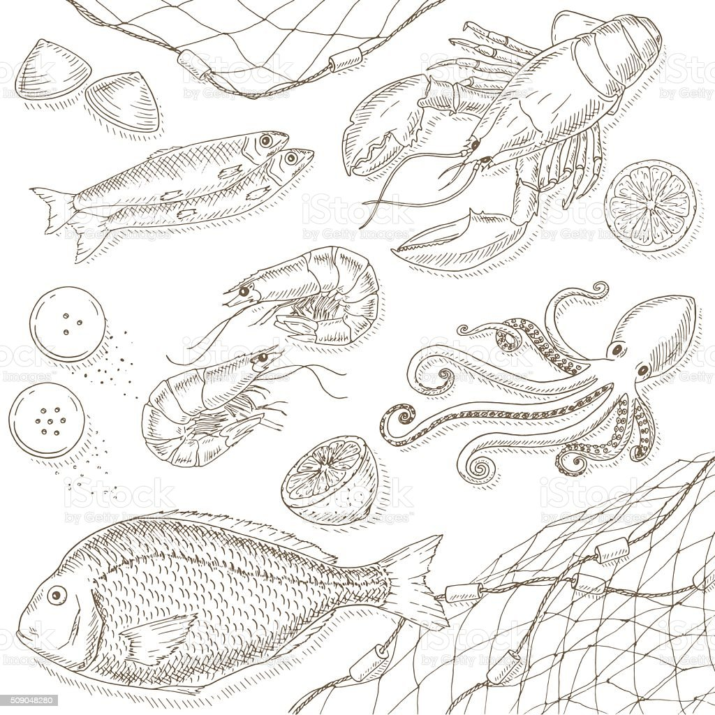 Seafood and fish set vector art illustration