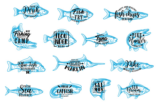 Seafood and fishing sport lettering icons