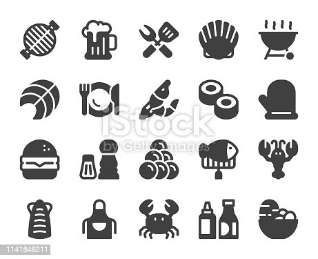 Seafood and Grilled Icons Vector EPS File.