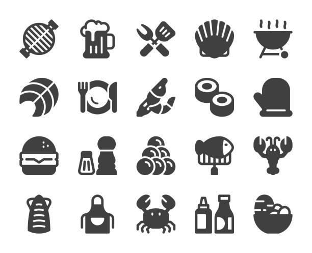 Seafood and Grilled - Icons Seafood and Grilled Icons Vector EPS File. mollusk stock illustrations