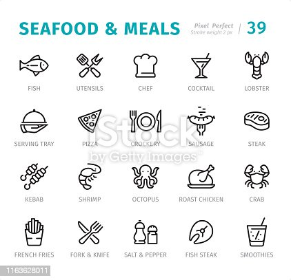 Seafood & Meals - 20 Outline Style - Single line icons with captions / Set #39 / Designed in 48x48pх square, outline stroke 2px.  First row of outline icons contains: Fish, Utensils, Chef, Cocktail, Lobster;  Second row contains: Serving Tray, Pizza, Crockery, Sausage, Steak;  Third row contains: Kebab, Shrimp, Octopus, Roast Chicken, Crab;  Fourth row contains: French Fries, Fork & Knife, Salt & Pepper, Fish Steak, Smoothies.  Complete Signico collection - https://www.istockphoto.com/collaboration/boards/VT_7sDWo80OLh7foVxchBQ