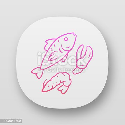 istock Seafood app icon. Omega 3 source products UI/UX user interface. Gourmet restaurant meal. Web or mobile application. Salmon fish, shrimp and lobster claw vector isolated illustration 1203041398