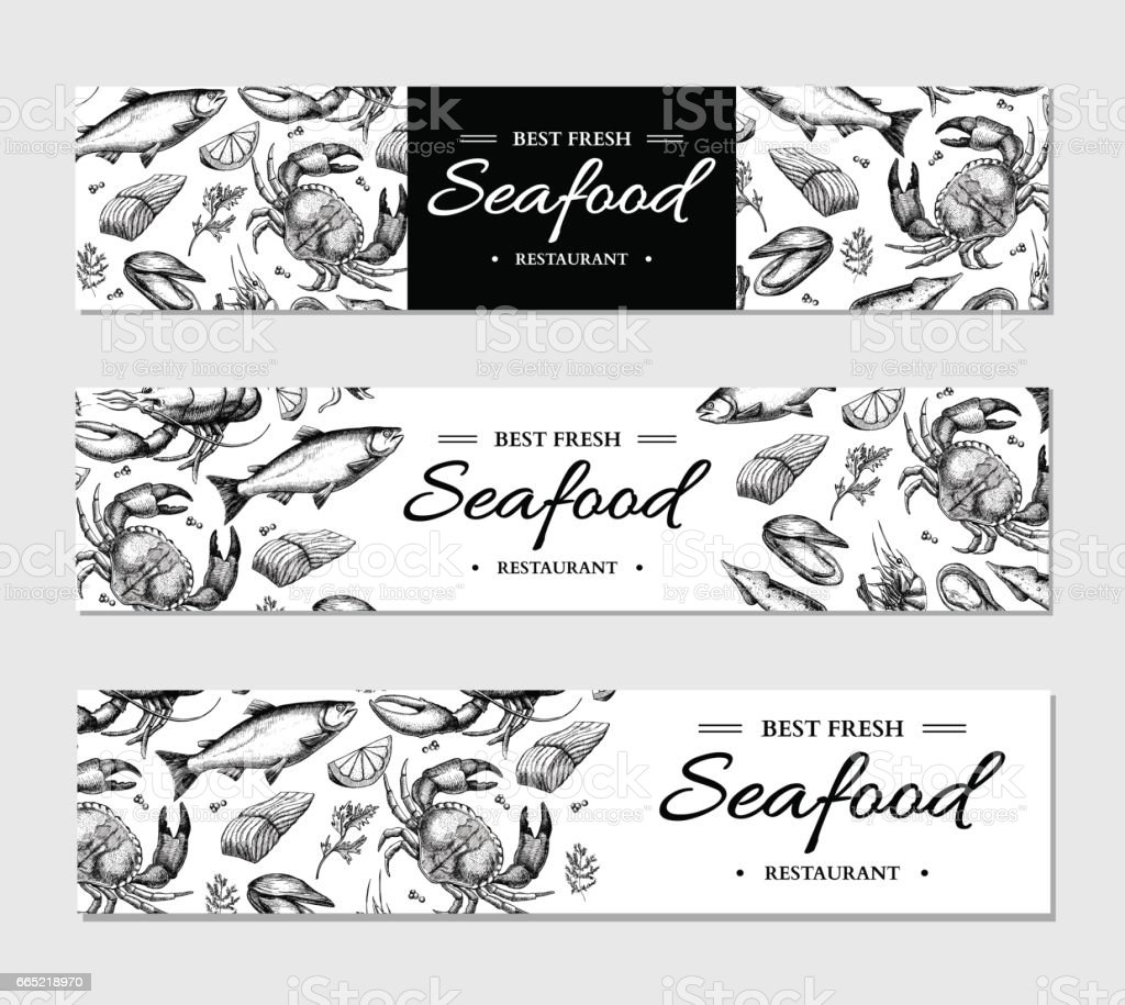 Seafood banner vector template set. Hand drawn illustration. Crab, lobster, shrimp, oyster, mussel, vector art illustration