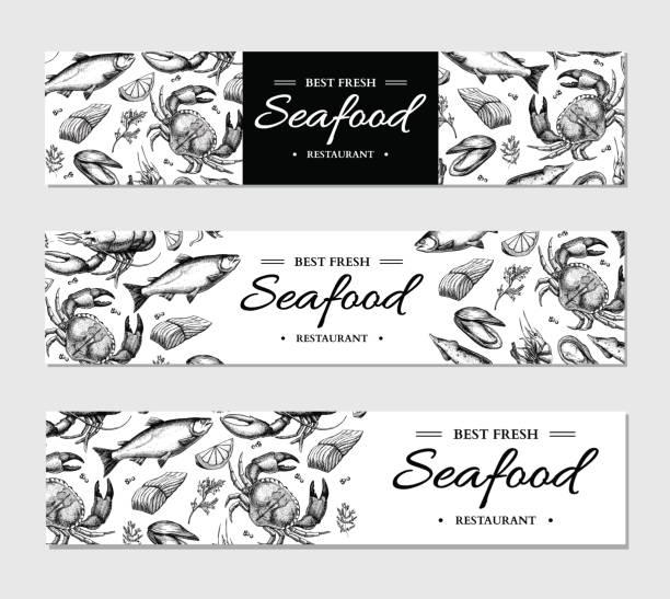 Seafood banner vector template set. Hand drawn illustration. Crab, lobster, shrimp, oyster, mussel, vector art illustration