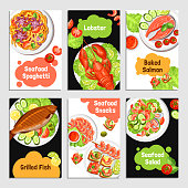Color cards with title of seafoods for banner vector illustration