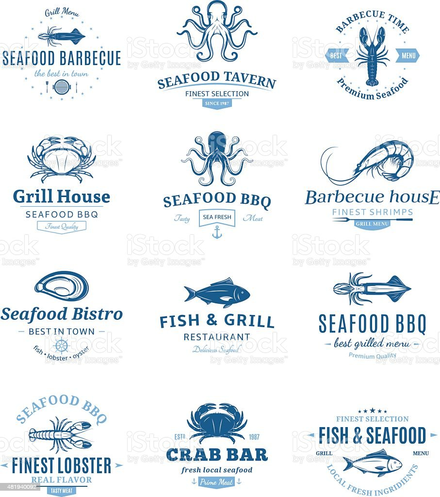 Seafood Barbecue Labels and Design Elements vector art illustration