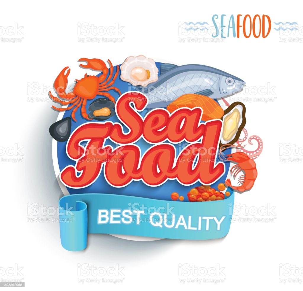 Seafood best quality symbol. vector art illustration